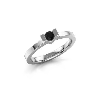 Aanzoeksring Sherley 1 585 witgoud zwarte diamant 0.18 crt