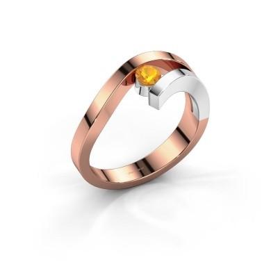 Ring Evalyn 1 585 rosé goud citrien 3.7 mm