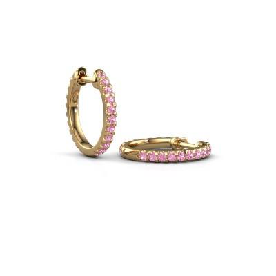 Foto van Creolen Jackie 12.5 mm A 375 goud roze saffier 1.5 mm