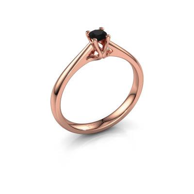 Bague de fiançailles Janna 1 585 or rose diamant noir 0.18 crt