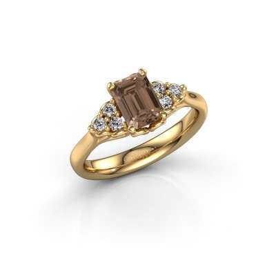 Foto van Aanzoeksring Myrna EME 375 goud bruine diamant 1.300 crt