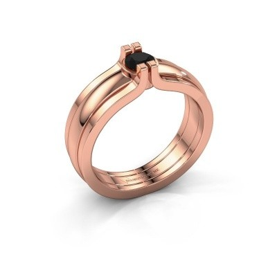 Picture of Ring Jade 585 rose gold black diamond 0.30 crt