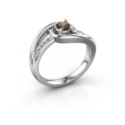 Ring Aylin 950 platina rookkwarts 4 mm