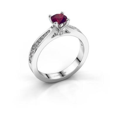 Photo de Bague de fiançailles Evelien 585 or blanc rhodolite 5 mm
