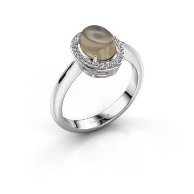 Ring Kristian 950 platinum smokey quartz 8x6 mm