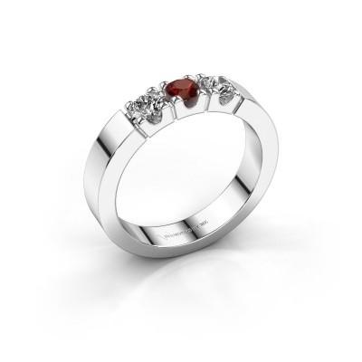 Engagement ring Dana 3 950 platinum garnet 3.4 mm