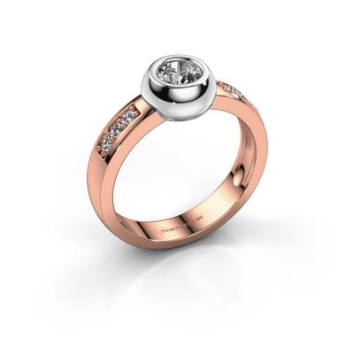 Ring Charlotte Round 585 rosé goud zirkonia 4.7 mm