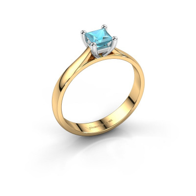 Verlobungsring Sam Square 585 Gold Blau Topas 4 mm