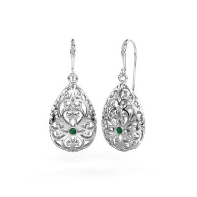Picture of Drop earrings Idalia 2 585 white gold emerald 2 mm