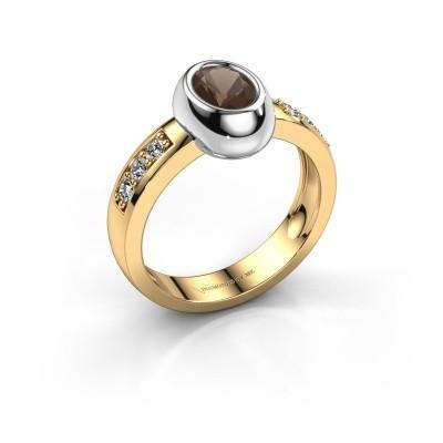 Ring Charlotte Oval 585 gold smokey quartz 7x5 mm