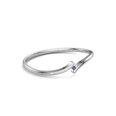 Slavenarmband Amy 585 witgoud saffier 3.4 mm
