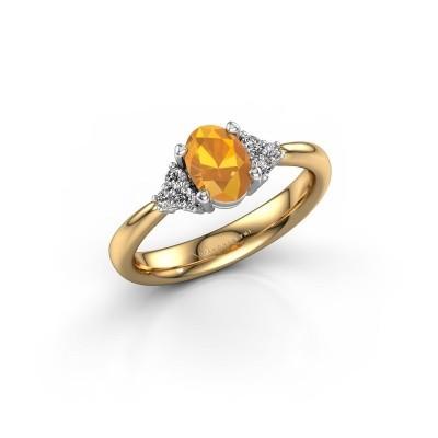 Foto van Verlovingsring Aleida OVL 1 585 goud citrien 7x5 mm