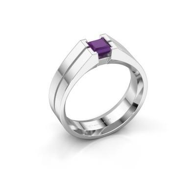 Foto van Heren ring Stefan 375 witgoud amethist 4.5 mm