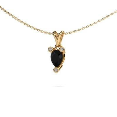 Foto van Ketting Cornelia Pear 375 goud zwarte diamant 0.80 crt