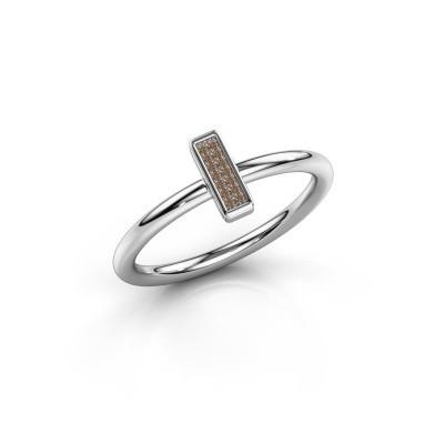 Ring Shape stripe small 925 zilver bruine diamant 0.035 crt