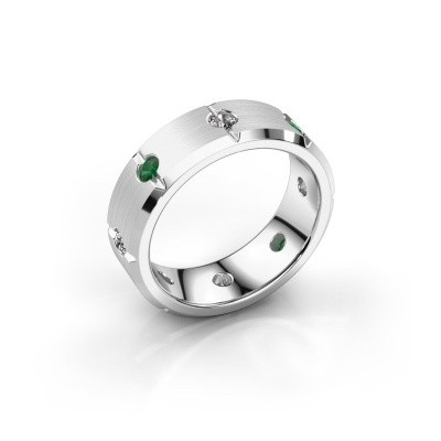 Men's ring Irwin 375 white gold emerald 2.7 mm