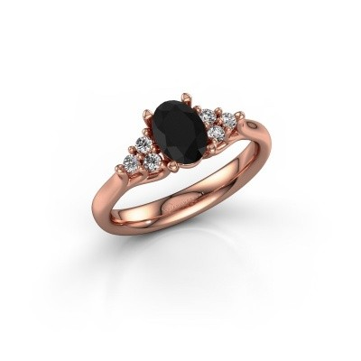 Foto van Verlovingsring Monika OVL 375 rosé goud zwarte diamant 1.110 crt