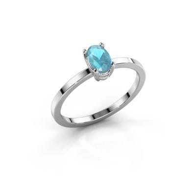 Foto van Ring Lynelle 1 950 platina blauw topaas 6x4 mm