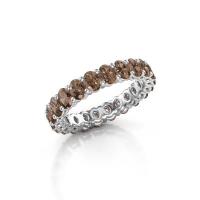 Aanschuifring Heddy OVL 3x4 585 witgoud bruine diamant 3.30 crt