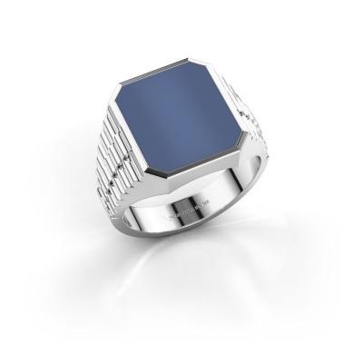 Foto van Rolex stijl ring Brent 3 585 witgoud blauw lagensteen 14x12 mm