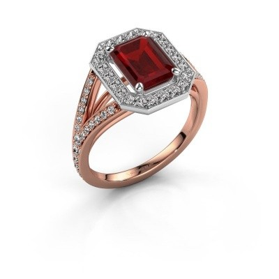 Promise ring Angelita EME 585 rosé goud robijn 8x6 mm