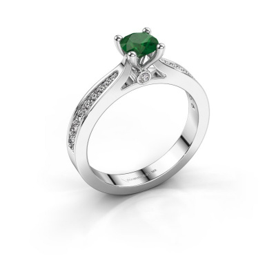 Engagement ring Evelien 585 white gold emerald 5 mm