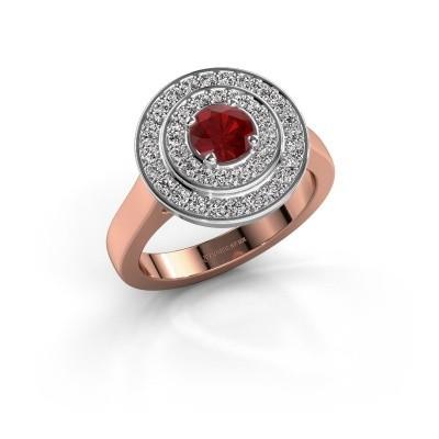 Foto van Ring Alecia 1 585 rosé goud robijn 5 mm