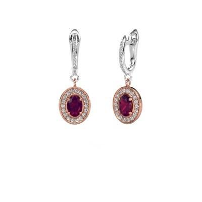 Picture of Drop earrings Layne 2 585 rose gold rhodolite 7x5 mm