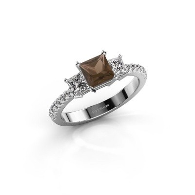 Engagement ring Dorla 585 white gold smokey quartz 5 mm