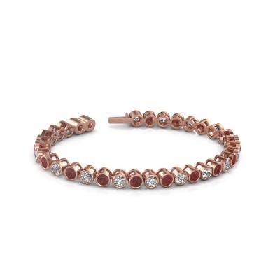 Foto van Tennisarmband Allegra 375 rosé goud robijn 4 mm