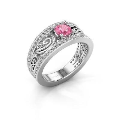 Foto van Verlovingsring Julliana 585 witgoud roze saffier 5 mm