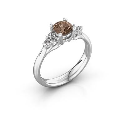 Foto van Verlovingsring Monika RND 585 witgoud bruine diamant 0.80 crt