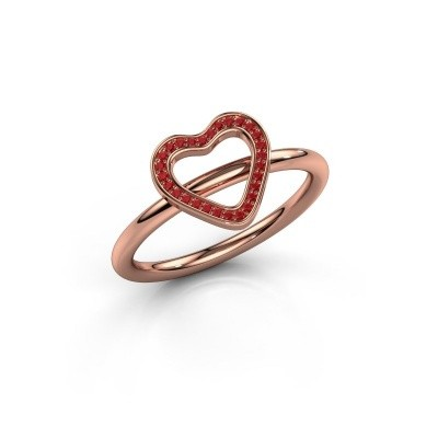Ring Initial heart 375 rosé goud robijn 0.8 mm