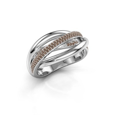 Ring Candice 585 witgoud bruine diamant 0.24 crt