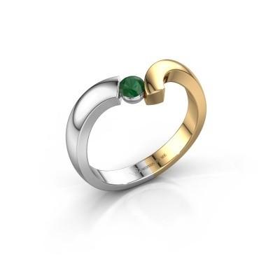 Foto van Ring Arda 585 witgoud smaragd 3.4 mm