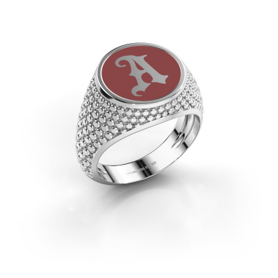 Monogramm Ring Zachary 925 Silber Rot Emaille