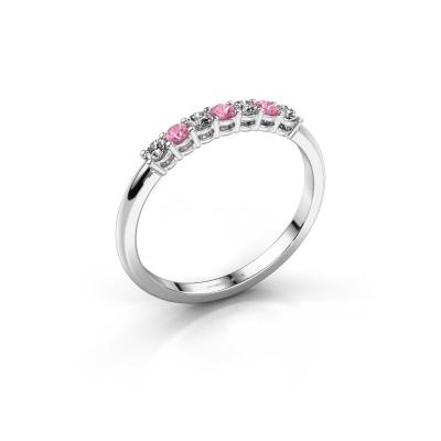 Verlovings ring Michelle 7 950 platina roze saffier 2 mm