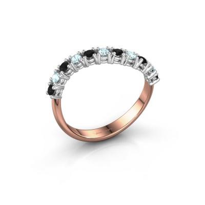 Ring Eliza 585 rosé goud zwarte diamant 0.216 crt