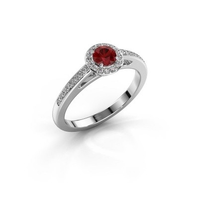 Engagement ring Aaf 585 white gold ruby 4.2 mm
