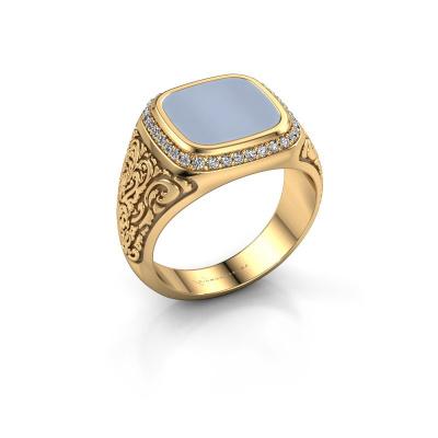 Foto van Heren ring Jesse 3 585 goud licht blauwe lagensteen 10x10 mm