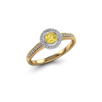 Engagement ring Noud 2 RND 585 gold yellow sapphire 4 mm