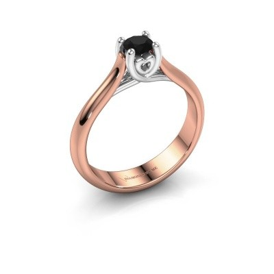 Foto van Verlovingsring Nisa 585 rosé goud zwarte diamant 0.36 crt