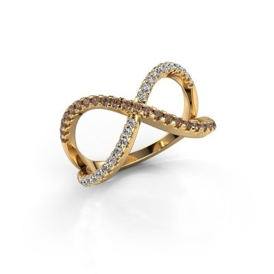 Ring Alycia 2 375 gold brown diamond 0.45 crt