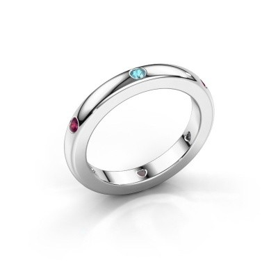 Stackable ring Charla 375 white gold blue topaz 2 mm