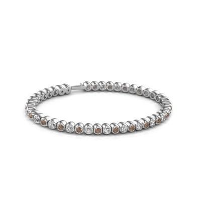 Tennisarmband Asley 585 witgoud bruine diamant 4.40 crt
