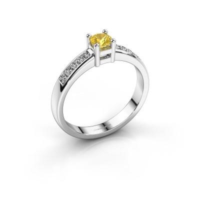 Bague de fiançailles Eline 2 585 or blanc saphir jaune 3.7 mm