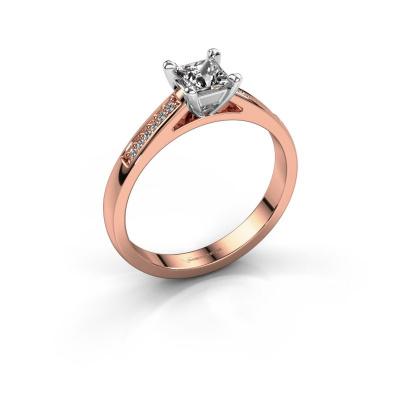 Engagement ring Nynke SQR 585 rose gold lab grown diamond 0.46 crt