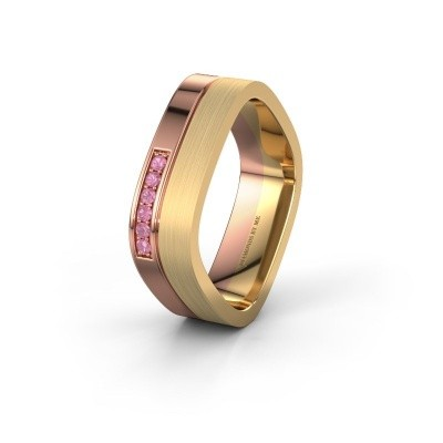 Wedding ring WH6030L16A 585 rose gold pink sapphire ±6x1.7 mm