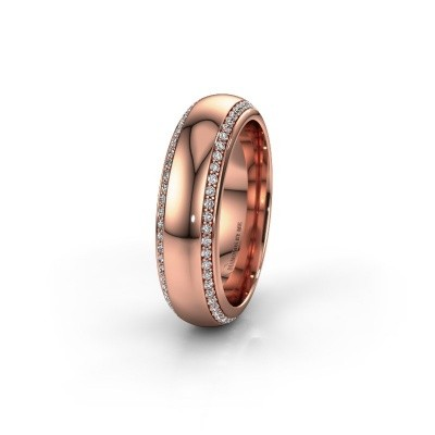 Trouwring WH6132L36C 375 rosé goud zirkonia ±6x2.2 mm