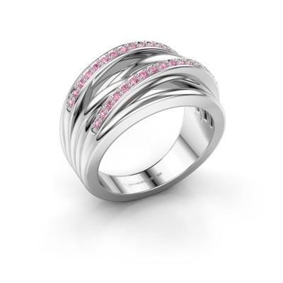Foto van Ring Annabel 2 585 witgoud roze saffier 1.2 mm